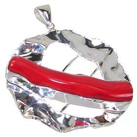 Large Designer Red Coral Sterling Silver Pendant