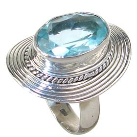 Blue Topaz Sterling Silver Ring size O