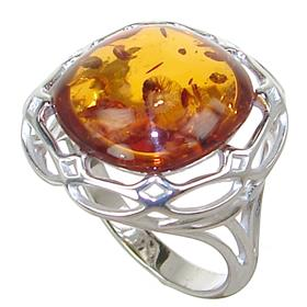 Baltic Amber Sterling Silver Ring size K 1/2