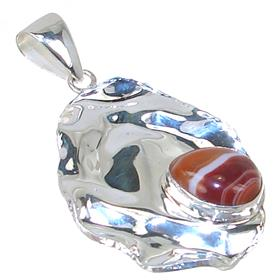 Solid Botswana Agate Sterling Silver Pendant