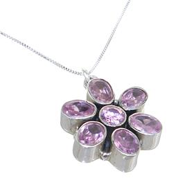 Pink Quartz Sterling Silver Necklace 18 inches long
