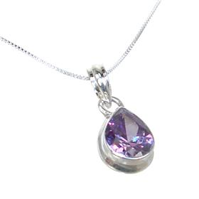 Purple Quartz Sterling Silver Necklace 18 inches long