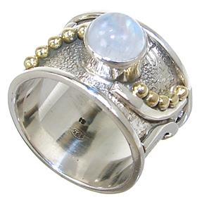 Solid Moonstone Sterling Silver Ring size O