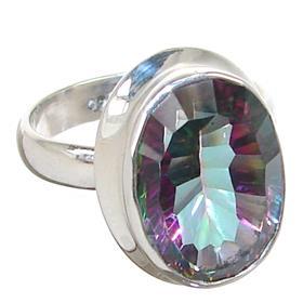 Mystic Quartz Sterling Silver Ring Jewellery size L 1/2