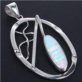 Created Fire Opal Sterling Silver Pendant