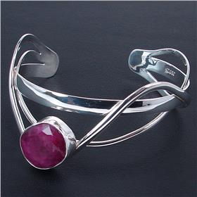 Created Ruby Sterling Silver Bracelet Bangle