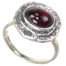 Royal Garnet Sterling Silver Ring Size P
