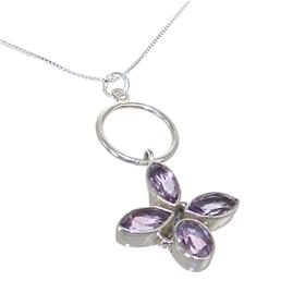 Marvelous Amethyst Sterling Silver Necklace 18 inches long