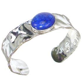 Glamorous Lapis Lazuli Sterling Silver Bracelet Bangle