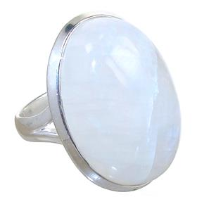 Solid Moonstone Sterling Silver Ring size Q 1/2