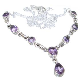 Marvelous Amethyst Sterling Silver Necklace 17 inches long