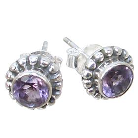 Spendid Amethyst Sterling Silver Earrings Stud