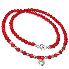 Red Coral Sterling Silver Necklace 17 inches long