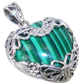 Eye-Catching Malachite Heart Sterling Silver Pendant