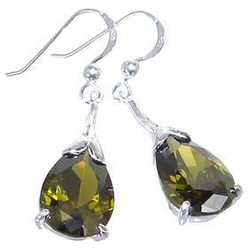 Olive Quartz Sterling Silver Earrings