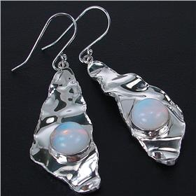 Fire Opalite Quartz Sterling Silver Earrings