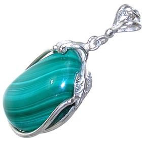 Eye-Catching Malachite Sterling Silver Pendant