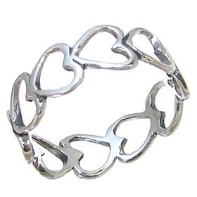 Hearts Plain Sterling Silver Ring size N