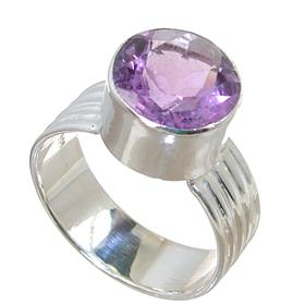 Fancy Amethyst Sterling Silver Ring size Q