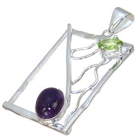 Solid Amethyst Sterling Silver Pendant