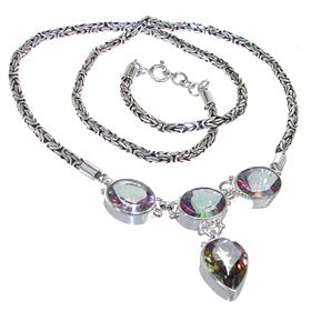 Bali Mystic Quartz Sterling Silver Necklace 17 inches long