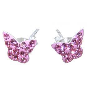 Pink Crystal Sterling Silver Earrings