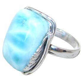 Designer Larimar Sterling Silver Ring size O 1/2 Adjustable