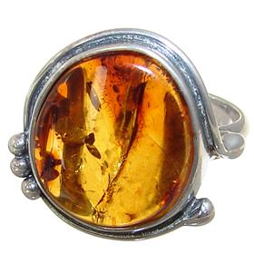 Baltic Amber Sterling Silver Gemstone Ring size O