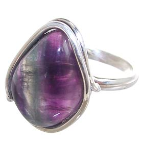 Flourite Sterling Silver Ring size O Adjustable