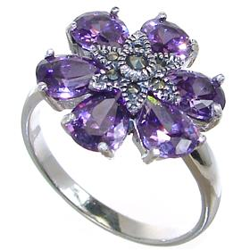 Purple Quartz Sterling Silver Ring size R 1/2