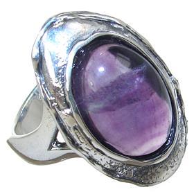 Delightful Amethyst Sterling Silver Ring size S Adjustable
