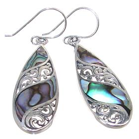 Rainbow Abalone Sterling Silver Earrings