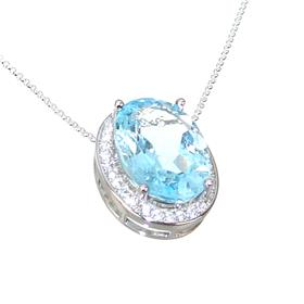 Blue Topaz Sterling Silver Necklace 16 inches long