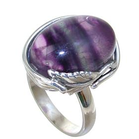 Flourite Sterling Silver Ring size P Adjustable