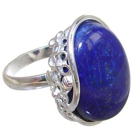 Solid Lapis Lazuli Sterling Silver Ring size R Adjustable