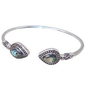 Rainbow Abalone Sterling Silver Bracelet Bangle