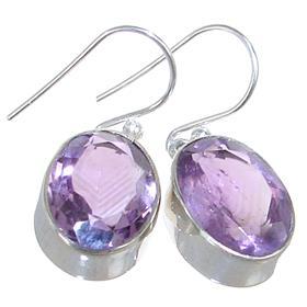Solid Amethyst Sterling Silver Earrings