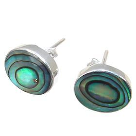 Rainbow Abalone Sterling Silver Earrings Stud