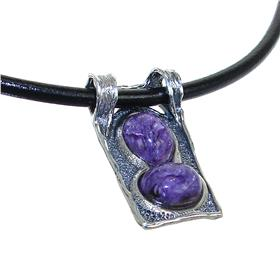 Fancy Charoite Sterling Silver Necklace 18 Inches Long