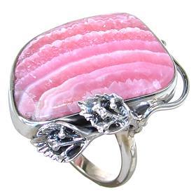 Rhodochrosite Sterling Silver Ring Size P 1/2