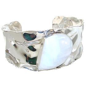 Designer Moonstone Sterling Silver Bracelet Bangle