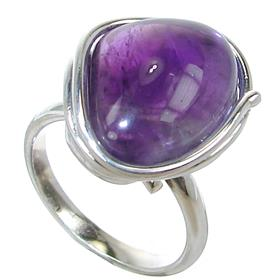 Fancy Amethyst Sterling Silver Ring size O 1/2 Adjustable