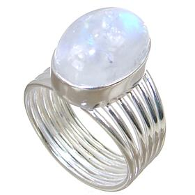 Solid Moonstone Sterling Silver Ring size N