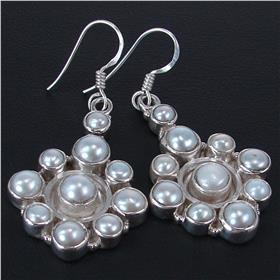 Fancy Pearl Sterling Silver Earrings