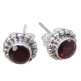 Garnet Sterling Silver Earrings Stud