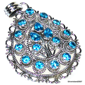 Large Blue Topaz Sterling Silver Pendant. Silver Gemstone Pendant