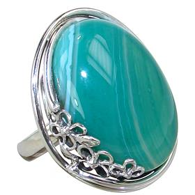 Solid Agate Sterling Silver Ring size O Adjustable