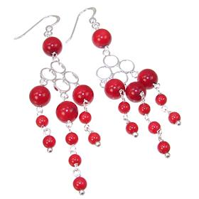 Red Coral Sterling Silver Earrings