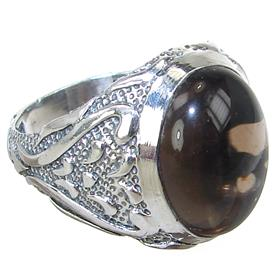 Smoky Quartz  Sterling Silver Ring size T