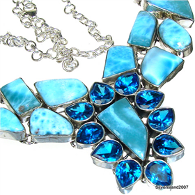 Massive Larimar Sterling Silver Necklace.Silver Gemstone Necklace.